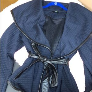 5*rating Plus Size Navy Blue Wrap around Jacket